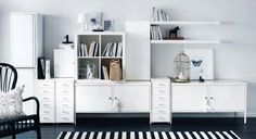 Exquisite Image Of Ikea White Wall Shelves As Furniture For Interior Decoration: Handsome White Living Room Decoration Using Modern Ikea White Wall Shelves In Living Room Including Rectangular Black And White Living Room Wall Paint And Modern White Entertainment Center In Living Room ~ fendhome.com Furniture Inspiration