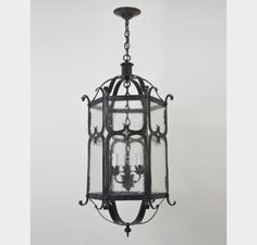 Hand-Hammered Iron Hanging Lantern Dallas Entry by Douglas Durkin