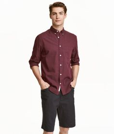 Cotton Shirt | Burgundy | Men | H&M US