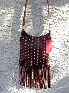 KurtMen Designs Western Leather Cross Body Handbag Purse w/ Fringe & Tooling #KurtMen #MessengerCrossBody