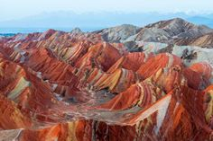 Zhangye Danxia National  Geological Park, China:     Spread over an area of 200 square miles, the geo-park is home to some of the most beautifully colored sandstone formations in the world.  -     Nature's gifts: Colorful places to see around the world