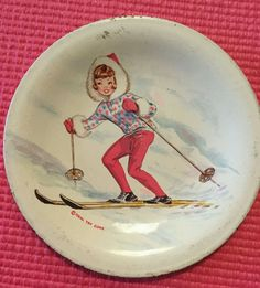 """Rare Vintage Ideal Toy Company Metal Tin Tammy Doll Dish Skiing Plate 4 3/4"""" #IdealToyCo"""