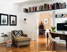 Home office book shelves. Overlooked book storage space is above book shelves above window and doors. New location for home office book shelves. Tiny Living Rooms, Living Room Decor, Living Spaces, Home Office, Sweet Home, Unique Shelves, Interior Decorating, Interior Design, Decorating Ideas