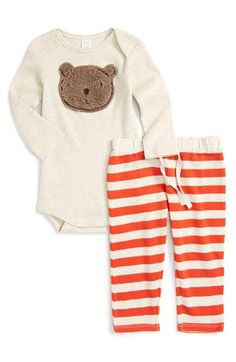 Nordstrom Baby Bear Appliqué Long Sleeve Bodysuit & Stripe Pants (Baby Boys) available at #Nordstrom