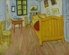 Vincent van Gogh,The Bedroom 1st version October 1888. Here, Van Gogh has depicted his bedroom in the Yellow House,furnished with simple pine furniture & his own paintings.Over the bed hang his portraits of the poet Eugène Boch & the soldier Paul-Eugène Milliet. In April 1889 he sent the initial version to his brother regretting that it was damaged by the flood of the Rhône while he was interned at the Old Hospital in Arles. Theo proposed to have it relined & sent back to him in order to…