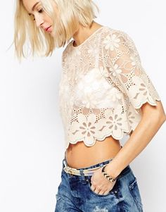 River Island Lace Cropped T-Shirt