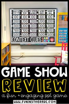 Context clues game show is a fun and engaging game to use as a whole class review for test prep!  This game can be used in PowerPoint, Google Slides or Keynote.  Your students will love this game and will WANT to learn all about context clues!  Your students will practice context clues, prefixes, suffixes, vocabulary and more! Fun Math Games, Number Games, Vocabulary Games, Class Games, Elementary Math, Upper Elementary, Fraction Games, Fraction Activities, School