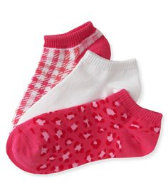 3-Pack Leopard, Solid & Gradient Stripe Ped Socks - Aeropostale (Arrived in our store July 8, 2013)