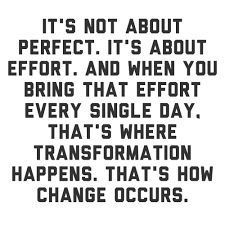 Effort transforms you more so than anything else.