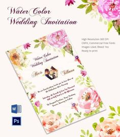 Free pdf download floral wreath monogram wedding invite for creative water color wedding invitation card template stopboris Images