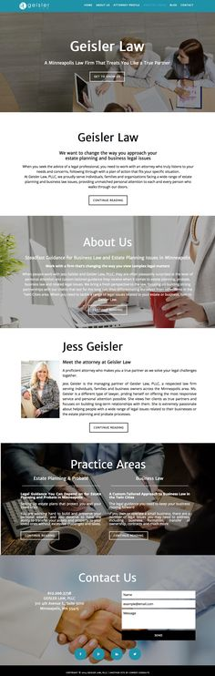 Law firm website design for Geisler Law in Minneapolis, MN by Conroy Consults