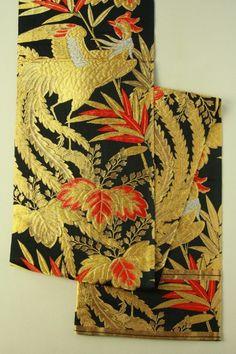 Black maru obi, gold and silver phenix pattern / 黒地 金銀緋赤の桐笹鳳凰文様 丸帯   #Kimono #Japan  http://www.rakuten.co.jp/aiyama/
