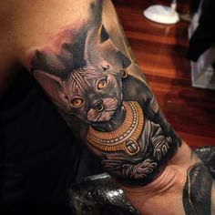 Find Trendy and fresh ideas about sphynx cat tattoo for men and women Egyptian Cat Tattoos, Egyptian Cats, Tattoos For Guys, Cool Tattoos, Cute Cat Tattoo, Tattoo Cat, Cat Tattoo Designs, Sphynx Cat, Fluffy Cat