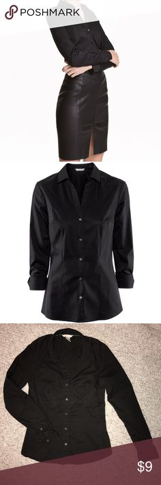 """H&M Black Button Down Dress Shirt In good condition. No stains or holes. H&M size 6 fits like a small. 16"""" across chest. 24"""" long. H&M Tops Button Down Shirts"""