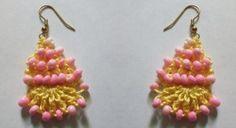 Pineapple beaded #crochet earrings free pattern @crochetspot