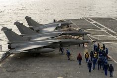 Naval Dassault Rafales on the flight deck of Port-Avion (Aircraft Carrier) Charles de Gaulle, of French Marine Nationale.