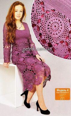 Elegant dress with round motifs. Crochet Coat, Form Crochet, Crochet Blouse, Crochet Lace, Knit Dress, Crochet Skirts, Crochet Clothes, Clothing Patterns, Dress Patterns