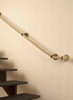 Staircase railing made of rope. Maybe another material but this idea is differen… Staircase railing made of rope. Maybe another material but this idea is different. Rope Railing, Stair Handrail, Staircase Railings, Stairways, How To Make Rope, Beach House Decor, Home Decor, House Stairs, Modern Interior Design
