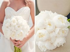 White Peonies bouquet! So classic. So beautiful!