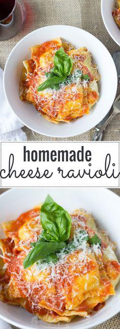 Homemade Cheese Ravioli // Fork in the Kitchen - Comfort Food Recipes - Pasta Vegetarian Recipes, Cooking Recipes, Healthy Recipes, Cooking Tips, Pasta Casera, Pastas Recipes, Recipes For Pasta, Homemade Cheese, Homemade Pasta Dough