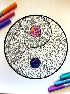 8.5x11 PDF coloring page of the Yin Yang symbol!  Fun for all ages.  Relieve stress, or just relax and have fun using your favorite colored pencils, pens, watercolors, paint, pastels, or crayons.  Print on card-stock paper or other thick paper (recommended).  Original art by Devyn Brewer (DJPenscript).  For personal use only. Please do not reproduce or sell this item.  HOW TO DOWNLOAD YOUR DIGITAL FILES: https://www.etsy.com/help/article/3949?ref=help_search_resu...