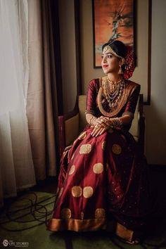 Login - South Indian bride in a red gold silk wedding saree. - Login – South Indian bride in a red gold silk wedding saree. Lehenga Designs, Kurta Designs, Wedding Saree Blouse Designs, Saree Blouse Neck Designs, Blouse Patterns, Kerala Wedding Saree, South Indian Wedding Saree, Indian Bridal Sarees, Bridal Silk Saree