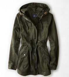 AEO Canvas Anorak, Green | American Eagle Outfitters
