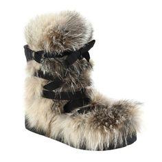 Moncler Zoe fox fur, suede, and leather lace-up boots, $2,840 saksfifthavenue.com