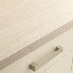 Grey Oak Block Effect worktop Worktop Ideas, Kitchen Worktops, Kitchen Dining Living, Kitchen Tables, Dining Room, Kitchen Tops, Grey Oak, Kitchen Collection, Cooking