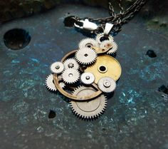 "Clockwork Pendant ""Milky Way"" Recycled Mechanical Watch Gears Intricate Parts Sculpture Machine Steampunk Necklace OOAK Metal Necklace"