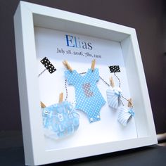 Personalized Baby Frame with Name & Birth Info Custom Paper Art of Onesie Diaper and Booties Baby Shower Gift Nursery Decor Wall Art by paintandpapercraft on Etsy New Baby Gifts, Gifts For Boys, Baby Gifts To Make, Diy Y Manualidades, Baby Frame, Baby Box Frame Ideas, Frame Crafts, Nursery Decor, Nursery Boy