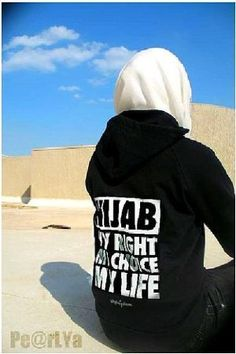 """Hijab. My Right, My Choice, My Life"" Hoodie in Black & White."
