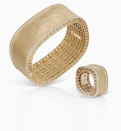 Браслет и кольцо из желтого золота с бриллиантами Rare Diamonds, Bella Hadid Outfits, Roberto Coin, Jewelry Design, Wedding Rings, Jewels, Engagement Rings, Bracelets, Leather