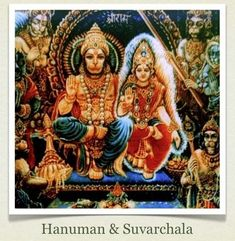 Hanuman married Suvarchala, the daughter of the Sun God . Shiva Hindu, Shiva Shakti, Hindu Deities, Hindu Art, Krishna, Shiva Art, Om Namah Shivaya, Hanuman Images, Hanuman Chalisa