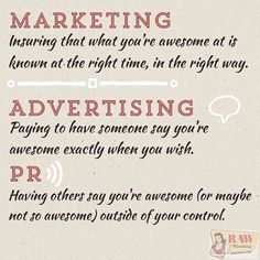 Marketing vs. PR vs. Advertising what's the difference?