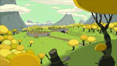The Land of Ooo from Adventure Time Cartoon Background, Animation Background, Background Pictures, Art Background, Adventure Time Background, Adventure Time Wallpaper, Environment Concept Art, Environment Design, Land Of Ooo