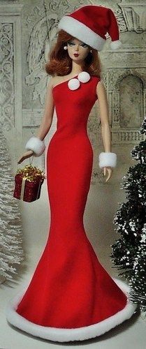 Christmas Christmas Barbie, Christmas Fashion, Vintage Christmas, Barbie Gowns, Barbie Clothes, Costume Collection, Vintage Barbie Dolls, Barbie World, Barbie Friends