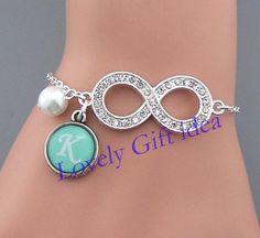 Shining Diamond infinity bracelet Custom word jewelry Pearl bracelet Silver chain,Bridesmaids gift Wedding jewelry Flower girl,women,kid  by LovelyGiftidea, $5.99