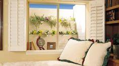 Basement window option; shutters make nice privacy option
