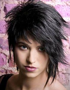 asymmetrical shag haircut