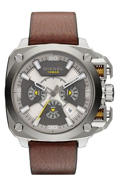 DIESEL®+'BAMF'+Chronograph+Leather+Strap+Watch,+58mm+available+at+#Nordstrom