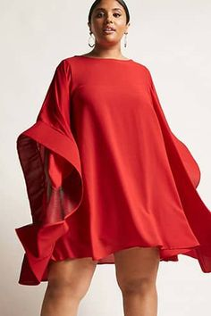 Plus Size Angel-Sleeve Dress at Diyanu Plus Size Angel-Sleeve Dress at Diyanu Source by acelinehuff Latest African Fashion Dresses, African Print Dresses, African Dress, Simple Dresses, Plus Size Dresses, Plus Size Outfits, Short Dresses, Tent Dress, Classy Dress