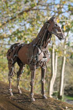 Horse Sculpture Scrap Metal Thoroughbred by GreenHandSculpture