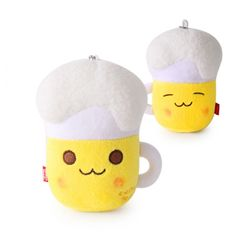 Beer Character 5.5in 14cm Plush Doll Cushion Yellow 100% Cotton