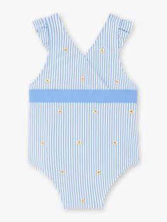 Maillot de bain 1 pièce à rayures bleues et blanches bébé fille Beach Kids, Bleu Marine, Collection, Tops, Women, Fashion, Blue Stripes, Moda, Fashion Styles