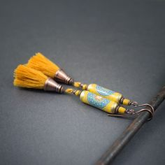 tassel earrings • artisan paper tube beads • Indian design • tribal jewelry • yellow tassel • ethnic chic • blue mandala • boho chic • gipsy by entre2et7 on Etsy