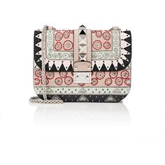 Valentino Women's Lock Small Shoulder Bag ($4,075) ❤ liked on Polyvore featuring bags, handbags, shoulder bags, light grey, studded purse, oversized shoulder bag, chain shoulder bag, valentino purses and valentino handbags