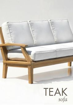 Perfect for your sunroom or deck, this outdoor sofa features a beautifully hand-carved teak wood frame and plush cushions made from weather-resistant fabric. You can relax all summer on this luxurious piece from Signature Hardware.