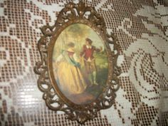 Vintage Courting Couple Portrait Fancy Brass by FabulousFinds1