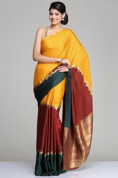 Self-Patterned Multicolored Mysore Silk Saree With A Maroon, Yellow & Mustard Horizontal Panels And Gold Zari Stripes & Pallu